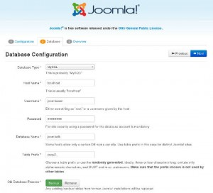 Install Joomla: Configure Database Access