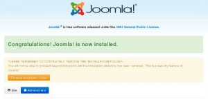 "Install Joomla: Be sure to remove ""installation"" folder from your server!"