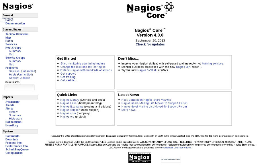 Nagios Core 4.0.0.
