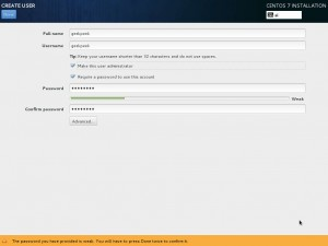 Install CentOS 7 - User Settings (user creation)