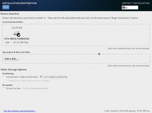 Install CentOS 7 - Installation Destination (Partitioning 1)