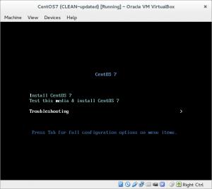 CentOS 7 menu: Troubleshoot