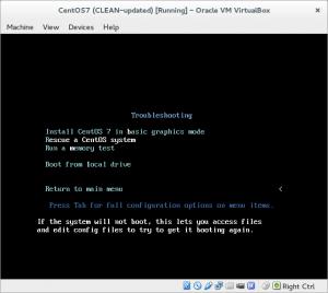CentOS menu: Rescue CentOS system