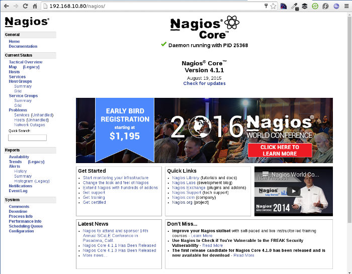 Running Nagios Core 4.1.1. on CentOS 7 - First page